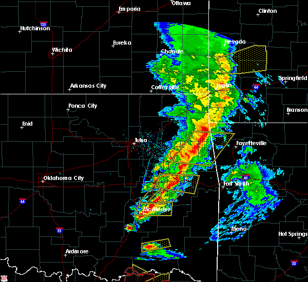Radar Image for Severe Thunderstorms near Flint Creek, OK at 4/24/2020 7:22 PM CDT