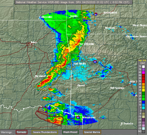 Radar Image for Severe Thunderstorms near Bethel Heights, AR at 4/24/2020 8:03 PM CDT