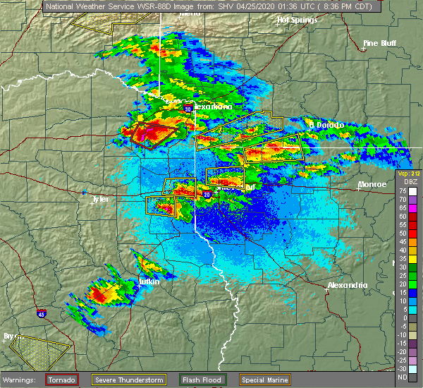 Radar Image for Severe Thunderstorms near Pleasant Hill, TX at 4/24/2020 8:41 PM CDT
