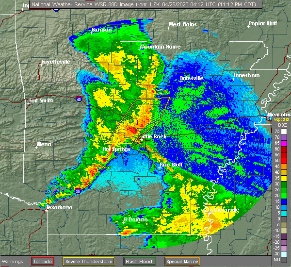 Radar Image for Severe Thunderstorms near Little Rock, AR at 4/24/2020 11:35 PM CDT