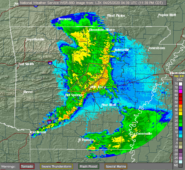 Radar Image for Severe Thunderstorms near Little Rock, AR at 4/24/2020 11:42 PM CDT