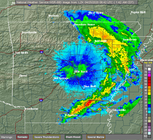Radar Image for Severe Thunderstorms near Jerome, AR at 4/25/2020 1:45 AM CDT