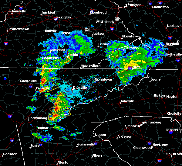 Radar Image for Severe Thunderstorms near Vonore, TN at 4/25/2020 5:35 PM EDT