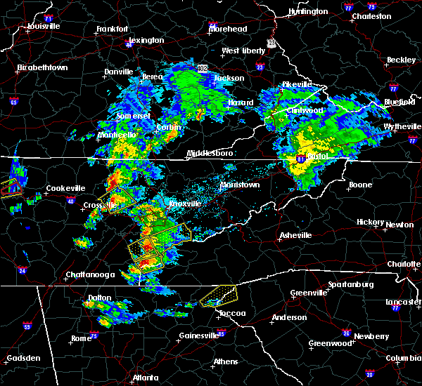 Radar Image for Severe Thunderstorms near Tellico Plains, TN at 4/25/2020 5:58 PM EDT