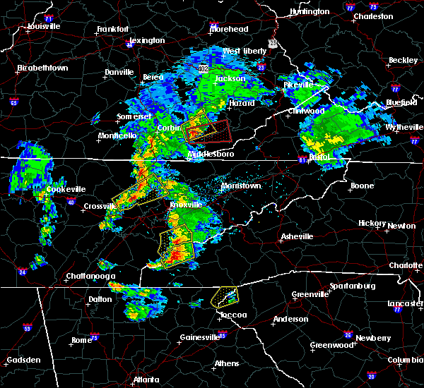 Radar Image for Severe Thunderstorms near Caryville, TN at 4/25/2020 6:24 PM EDT