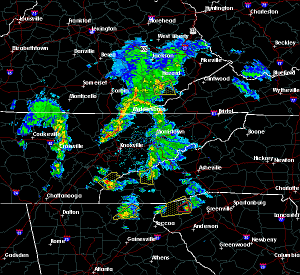 Radar Image for Severe Thunderstorms near Tellico Plains, TN at 4/25/2020 7:05 PM EDT