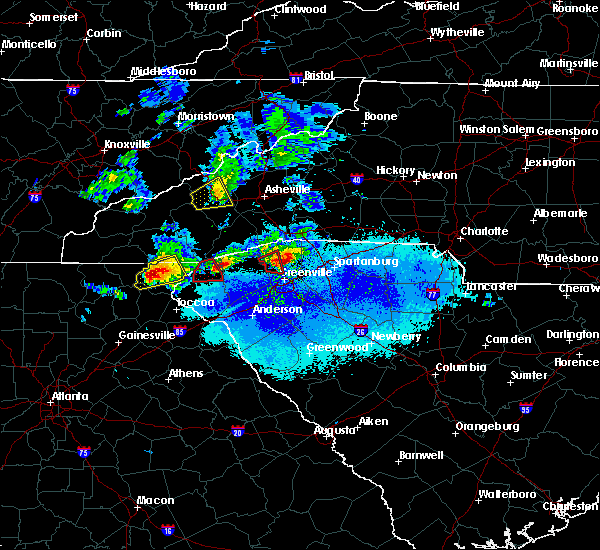 Radar Image for Severe Thunderstorms near Pickens, SC at 4/25/2020 7:46 PM EDT