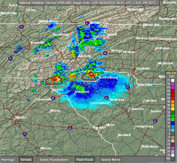 Radar Image for Severe Thunderstorms near Saxon, SC at 4/25/2020 8:06 PM EDT
