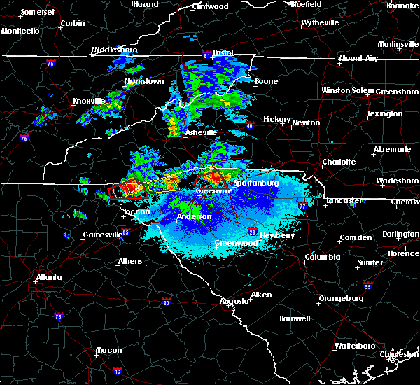 Radar Image for Severe Thunderstorms near Fairforest, SC at 4/25/2020 8:09 PM EDT
