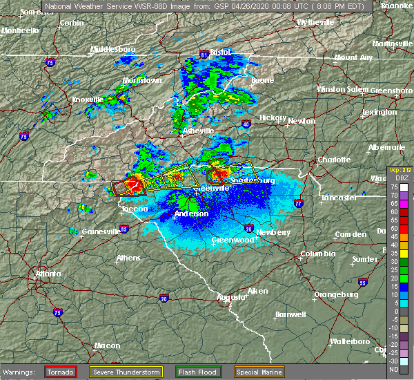 Radar Image for Severe Thunderstorms near Travelers Rest, SC at 4/25/2020 8:10 PM EDT