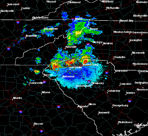 Radar Image for Severe Thunderstorms near Travelers Rest, SC at 4/25/2020 8:36 PM EDT