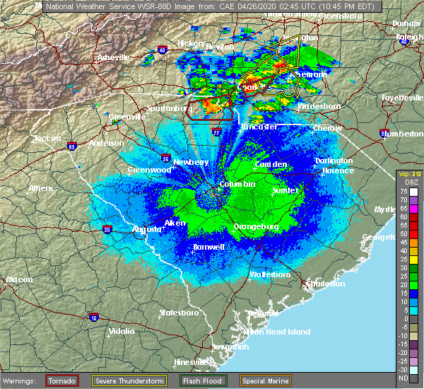 Radar Image for Severe Thunderstorms near Waxhaw, NC at 4/25/2020 10:50 PM EDT