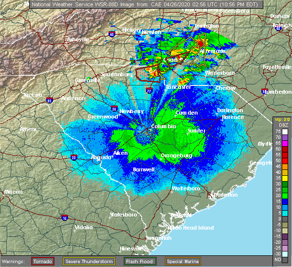 Radar Image for Severe Thunderstorms near Mount Pleasant, NC at 4/25/2020 11:00 PM EDT