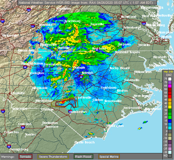 Radar Image for Severe Thunderstorms near Fayetteville, NC at 4/26/2020 1:11 AM EDT