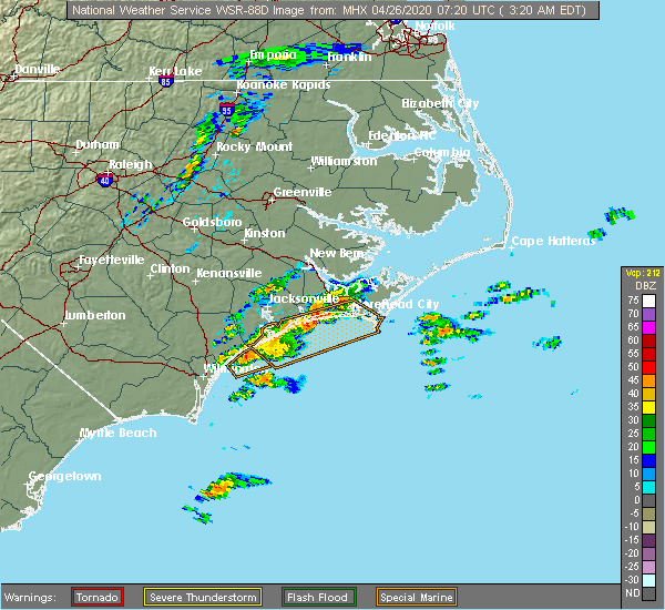 Radar Image for Severe Thunderstorms near Cape Carteret, NC at 4/26/2020 3:27 AM EDT