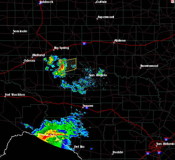 Radar Image for Severe Thunderstorms near Sterling City, TX at 4/27/2020 7:25 PM CDT
