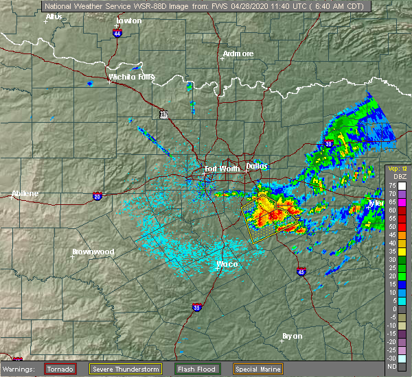 Radar Image for Severe Thunderstorms near Oak Valley, TX at 4/28/2020 6:42 AM CDT
