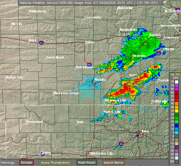 Radar Image for Severe Thunderstorms near Severy, KS at 4/28/2020 3:55 PM CDT