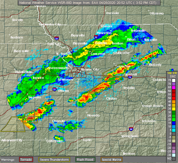 Radar Image for Severe Thunderstorms near Montrose, MO at 4/28/2020 3:57 PM CDT