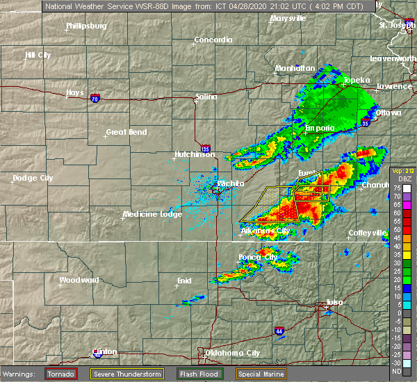 Radar Image for Severe Thunderstorms near Severy, KS at 4/28/2020 4:04 PM CDT