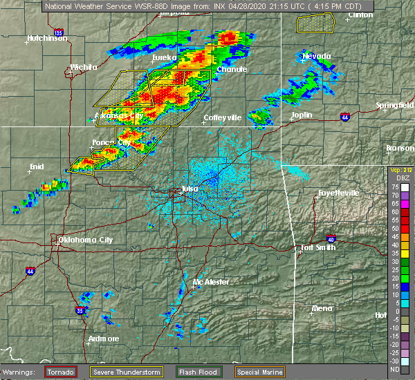 Radar Image for Severe Thunderstorms near Sedan, KS at 4/28/2020 4:24 PM CDT