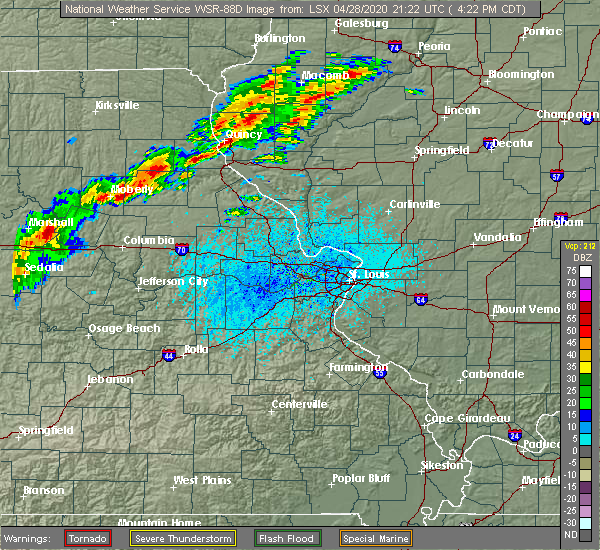 Radar Image for Severe Thunderstorms near Palmyra, MO at 4/28/2020 4:25 PM CDT