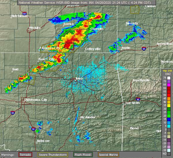 Radar Image for Severe Thunderstorms near Bartlesville, OK at 4/28/2020 4:34 PM CDT