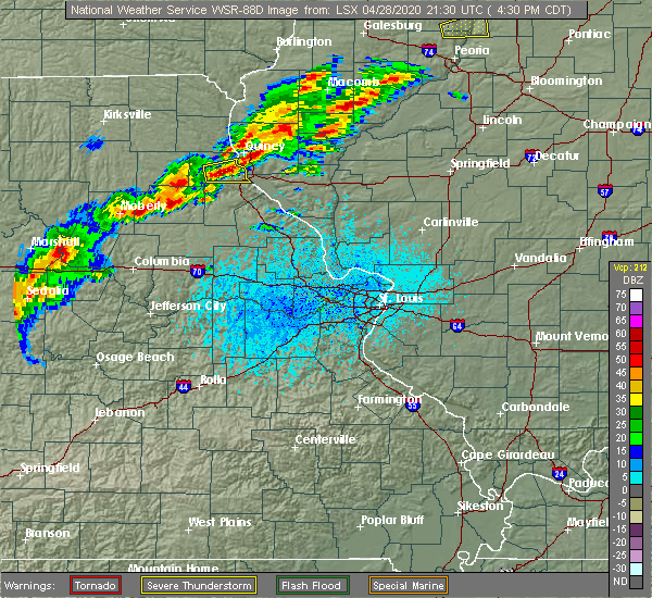 Radar Image for Severe Thunderstorms near Palmyra, MO at 4/28/2020 4:37 PM CDT