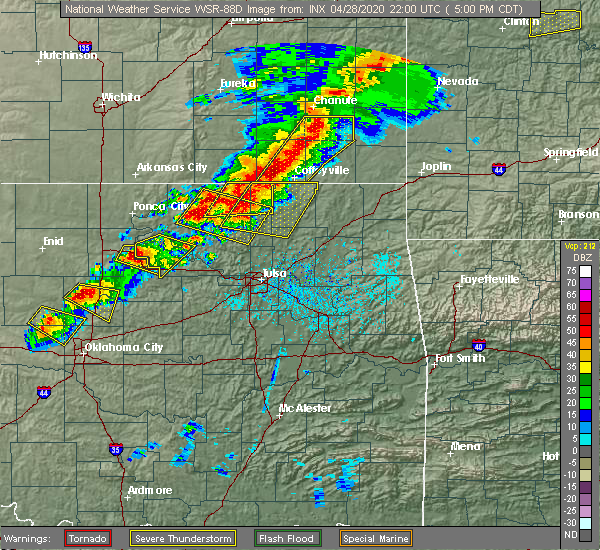 Radar Image for Severe Thunderstorms near Mannford, OK at 4/28/2020 5:07 PM CDT