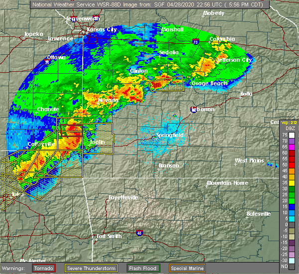 Radar Image for Severe Thunderstorms near La Russell, MO at 4/28/2020 6:00 PM CDT