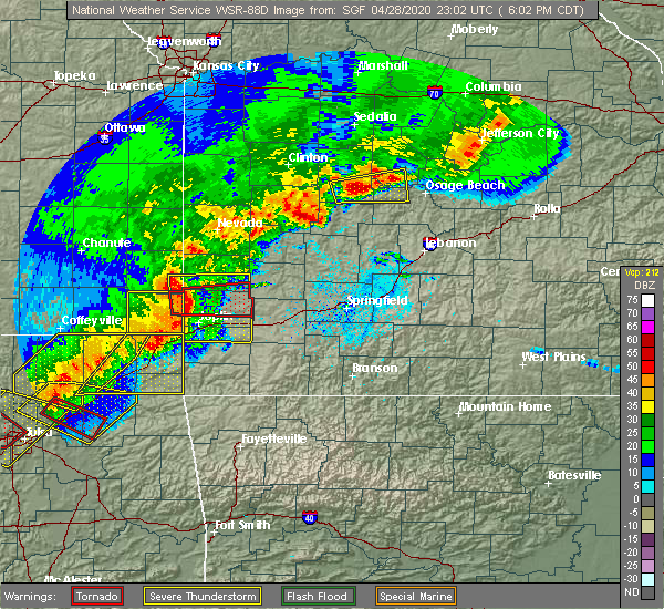 Radar Image for Severe Thunderstorms near La Russell, MO at 4/28/2020 6:09 PM CDT