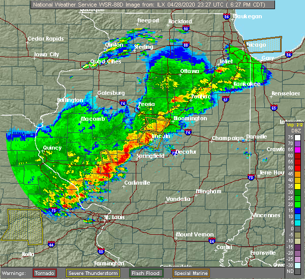 Radar Image for Severe Thunderstorms near Lincoln, IL at 4/28/2020 6:32 PM CDT