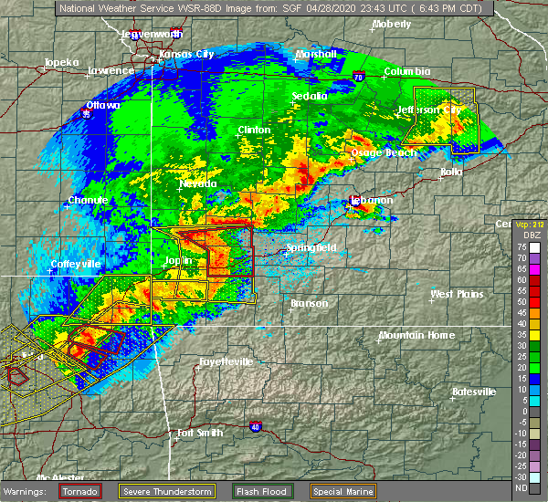 Radar Image for Severe Thunderstorms near Linn Creek, MO at 4/28/2020 6:49 PM CDT