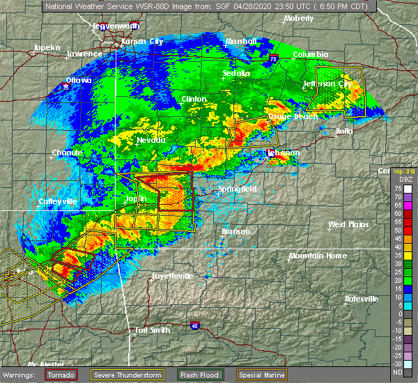 Radar Image for Severe Thunderstorms near Verona, MO at 4/28/2020 6:53 PM CDT