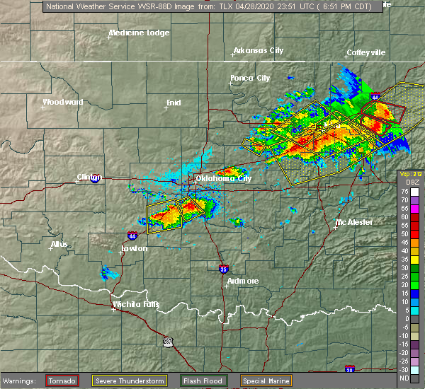 Radar Image for Severe Thunderstorms near Meeker, OK at 4/28/2020 6:57 PM CDT