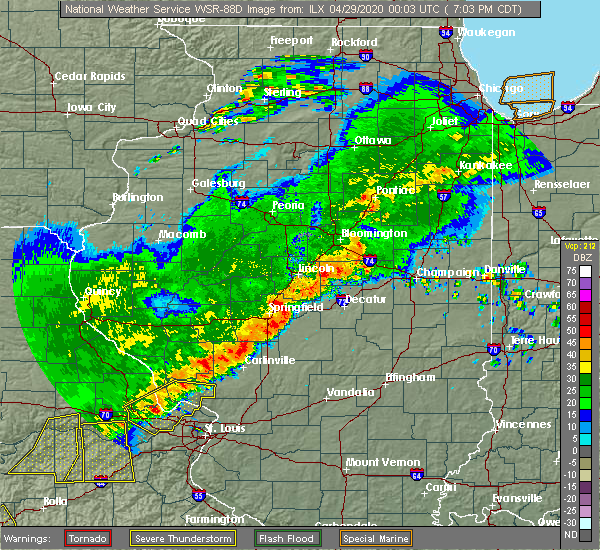 Radar Image for Severe Thunderstorms near Macon, IL at 4/28/2020 7:10 PM CDT