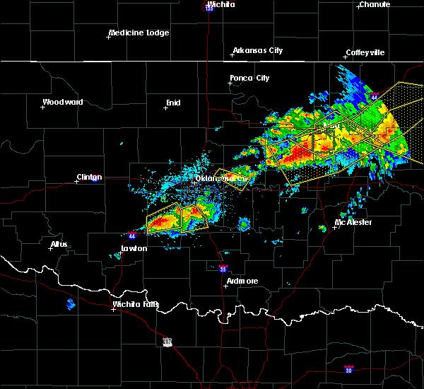 Radar Image for Severe Thunderstorms near Shawnee, OK at 4/28/2020 7:11 PM CDT