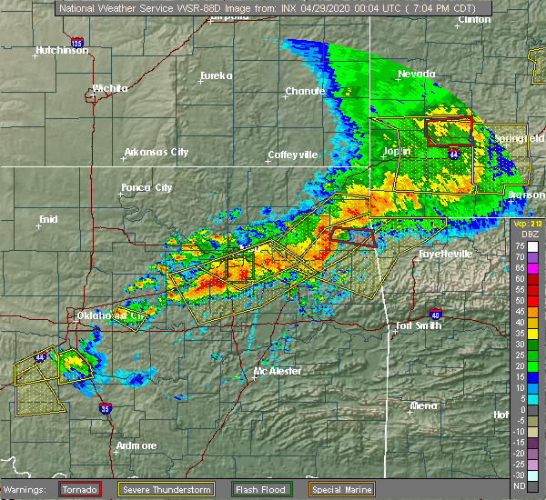 Radar Image for Severe Thunderstorms near Cloud Creek, OK at 4/28/2020 7:11 PM CDT