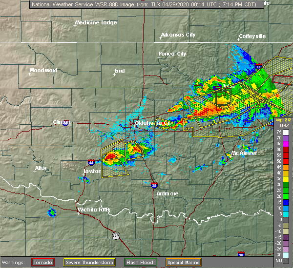 Radar Image for Severe Thunderstorms near Meeker, OK at 4/28/2020 7:22 PM CDT