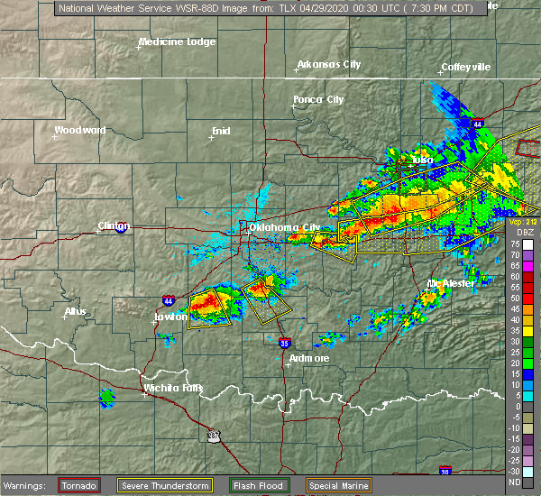 Radar Image for Severe Thunderstorms near Tecumseh, OK at 4/28/2020 7:34 PM CDT
