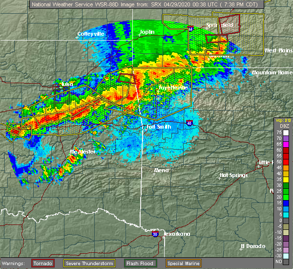 Radar Image for Severe Thunderstorms near Bethel Heights, AR at 4/28/2020 7:40 PM CDT