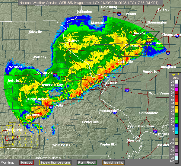 Radar Image for Severe Thunderstorms near Parkway, MO at 4/28/2020 7:40 PM CDT
