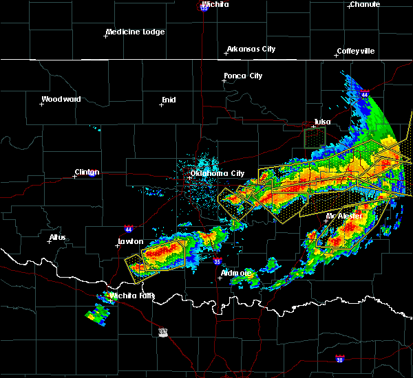Radar Image for Severe Thunderstorms near Shawnee, OK at 4/28/2020 8:11 PM CDT