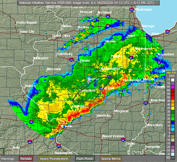 Radar Image for Severe Thunderstorms near Shelbyville, IL at 4/28/2020 8:27 PM CDT