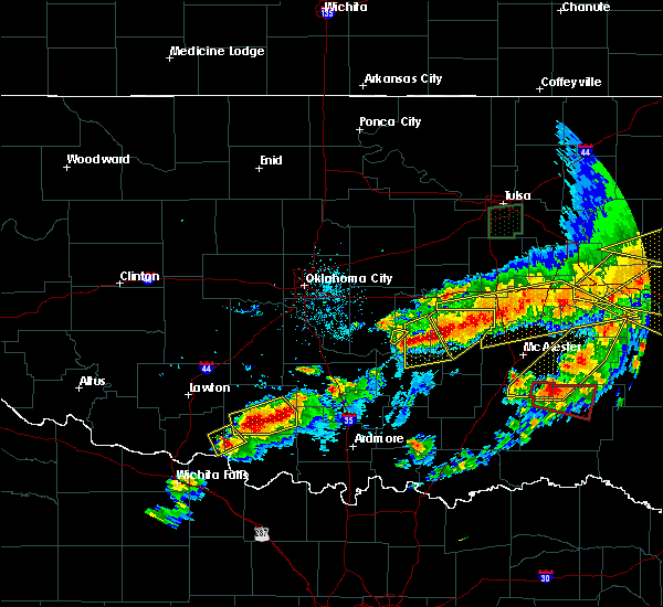 Radar Image for Severe Thunderstorms near Stuart, OK at 4/28/2020 8:32 PM CDT