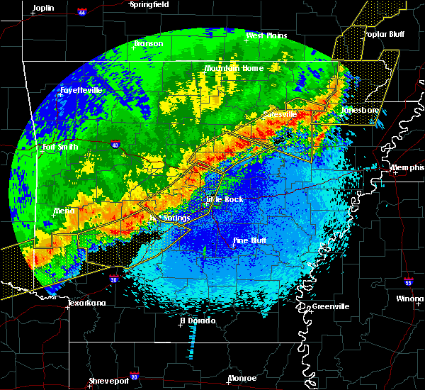 Radar Image for Severe Thunderstorms near Bradford, AR at 4/28/2020 10:46 PM CDT