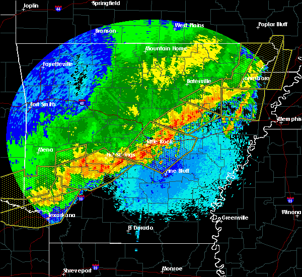 Radar Image for Severe Thunderstorms near Amagon, AR at 4/28/2020 11:16 PM CDT