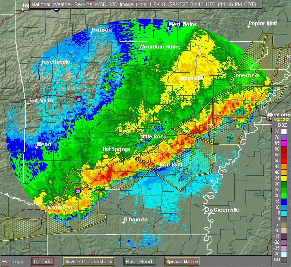 Radar Image for Severe Thunderstorms near Sparkman, AR at 4/28/2020 11:51 PM CDT
