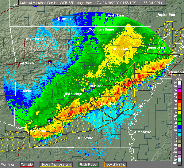 Radar Image for Severe Thunderstorms near Rye, AR at 4/28/2020 11:58 PM CDT