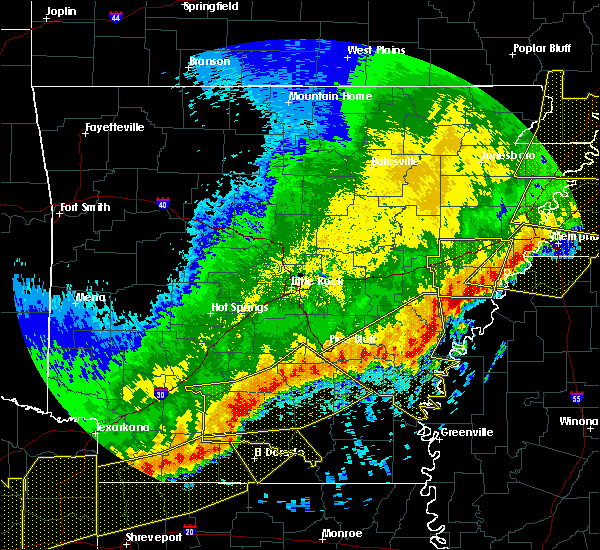 Radar Image for Severe Thunderstorms near Star City, AR at 4/29/2020 12:29 AM CDT